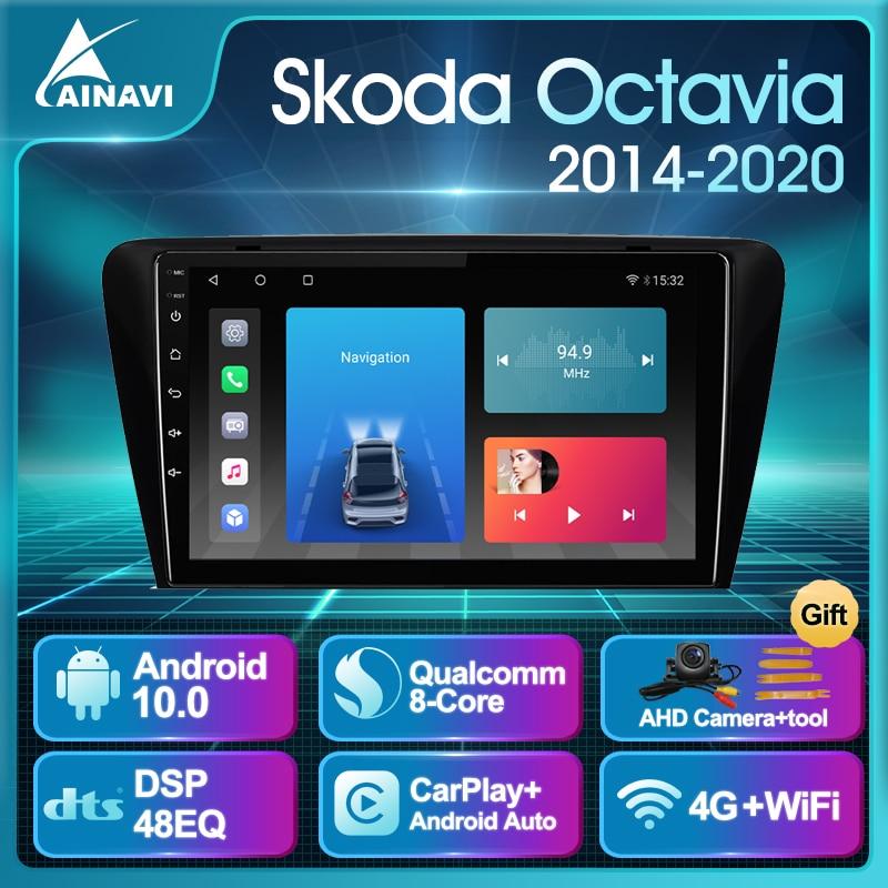 Car Radio AI Voice Android 10.0 For Skoda Octavia 2014-2020 Auto Stereo Multimedia Video Player Navi