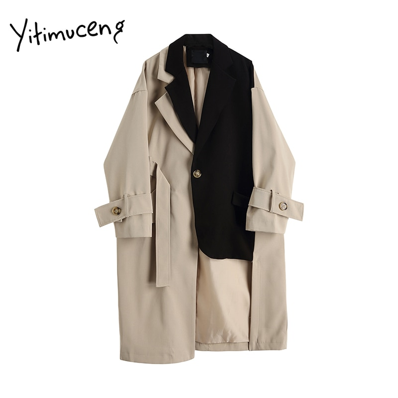 Yitimuceng Trench Coat for Women Winter Clothes Jacket Long Fashion Designer Vintage Streetwear Wint
