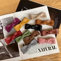 women small size pu leather bowknot hair barrettes solid handmade double bows hair clips quality elegant french clips for girls