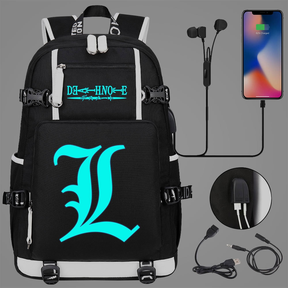 New Luminous Death Note School Backpack Anime Knapsack Rucksack Travel Bag Large Waterproof Multifun