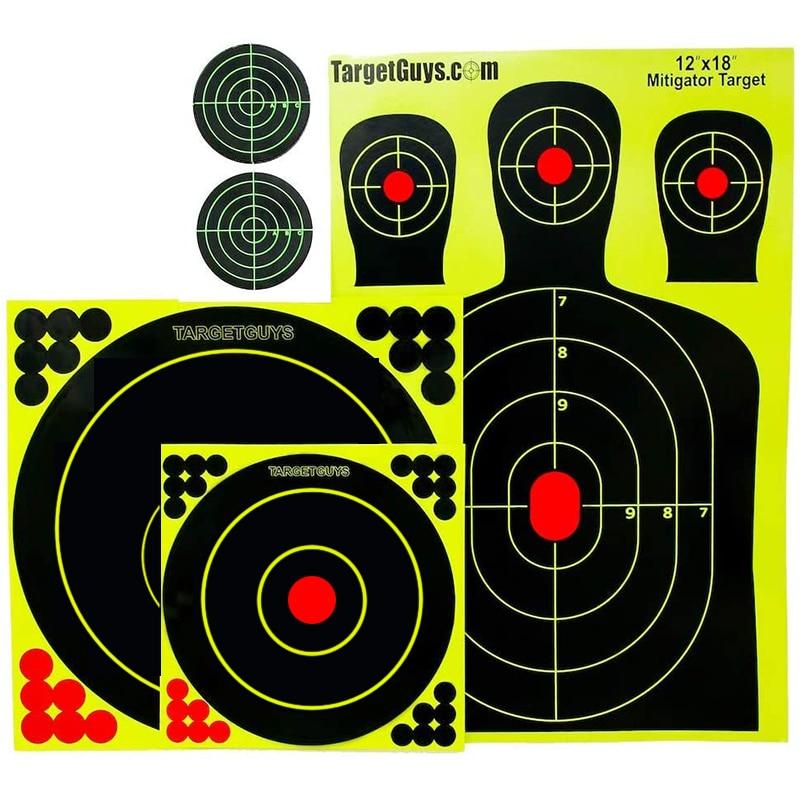 Splatter Targets -Range Pack - (25 Targets) 12x18 inch Silhouettes, Adhesive Splatter Targets 12x12 inch, 8x8 inch, 3x3 inch