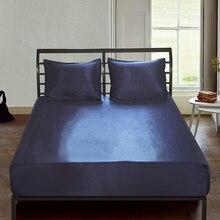Drap-housse de luxe en soie satiné de couleur unie, couvre-matelas avec bande élastique à quatre coins