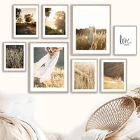 girl grass wheat sunshine open land road wall art canvas painting nordic posters and prints wall pictures for living room decor