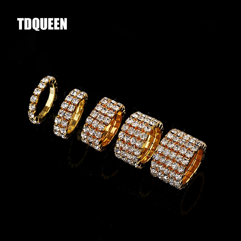 AliExpress - 1-5 Rows Gold Color Rings Bridal Wedding Bands Crystal Rhinestone Stretch Finger Rings for Women