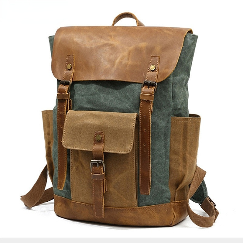 Cross-Border Supply Canvas Backpack Men's Outdoor Sports Hiking Bag Travel Backpack Student Bag Global Free Shipping