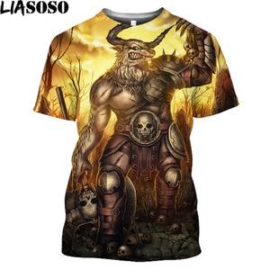 Anime Minotaur Vintage T Shirt Women Mens Fashion Graphic T Shirts Greek Mythology Animal Bull Yak Streetwear Short Sleeve Tops