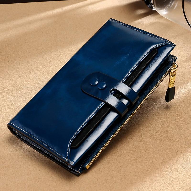 AliExpress - High grade genuine leather lady's purse multi card position retro wax wallet long RFID anti theft brush hand bag luxury girl