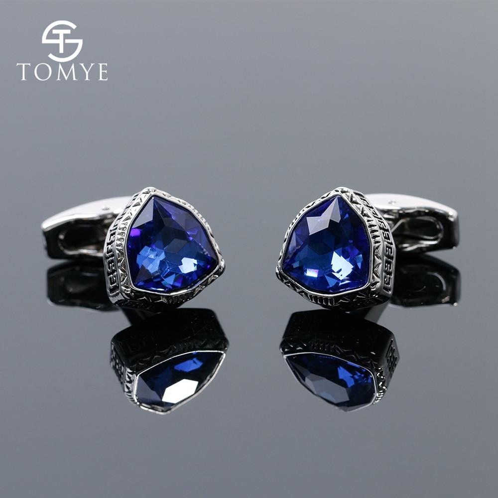 TOMYE Blue Crystal Triangle Suit Shirt Cufflinks Silver Gift Men XK19S142