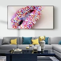 Peinture a lhuile de grande levre de couleur eblouissante  peinture sur toile a la mode  salon  couloir  bureau  decoration murale de la maison