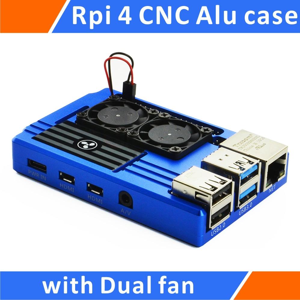Raspberry Pi 4 Алюминиевый корпус с двойным интеллектуальным вентилятор с контролем температуры синий