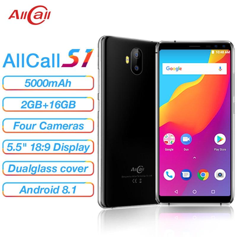 AllCall S1 смартфон с 5,5-дюймовым дисплеем, четырёхъядерным процессором, ОЗУ 2 Гб, ПЗУ 16 ГБ, 8 Мп, 100% мАч, Android 8,1