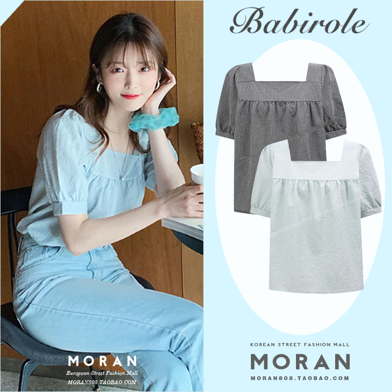 2020 Summer New Korean Style French Square Collar Temperament Shirt Retro Plaid Top Loose Slimming a