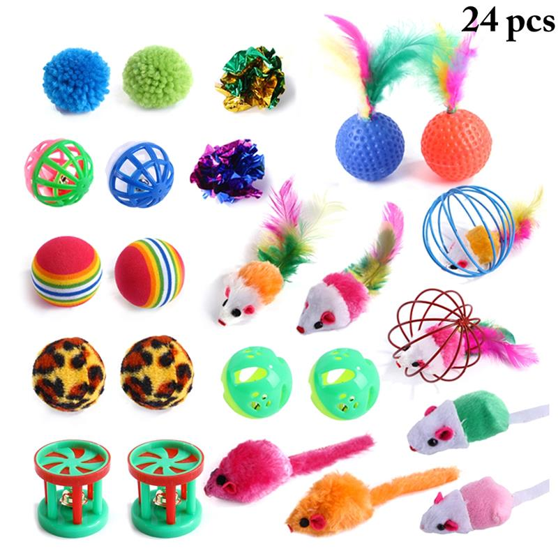 24 Pcs Funny Cat Teasing Toy Ball With Bell Interactive Cat Chew Molar Toys Colorful Plush Mice Shaped Kitten Cats Toy Supplies