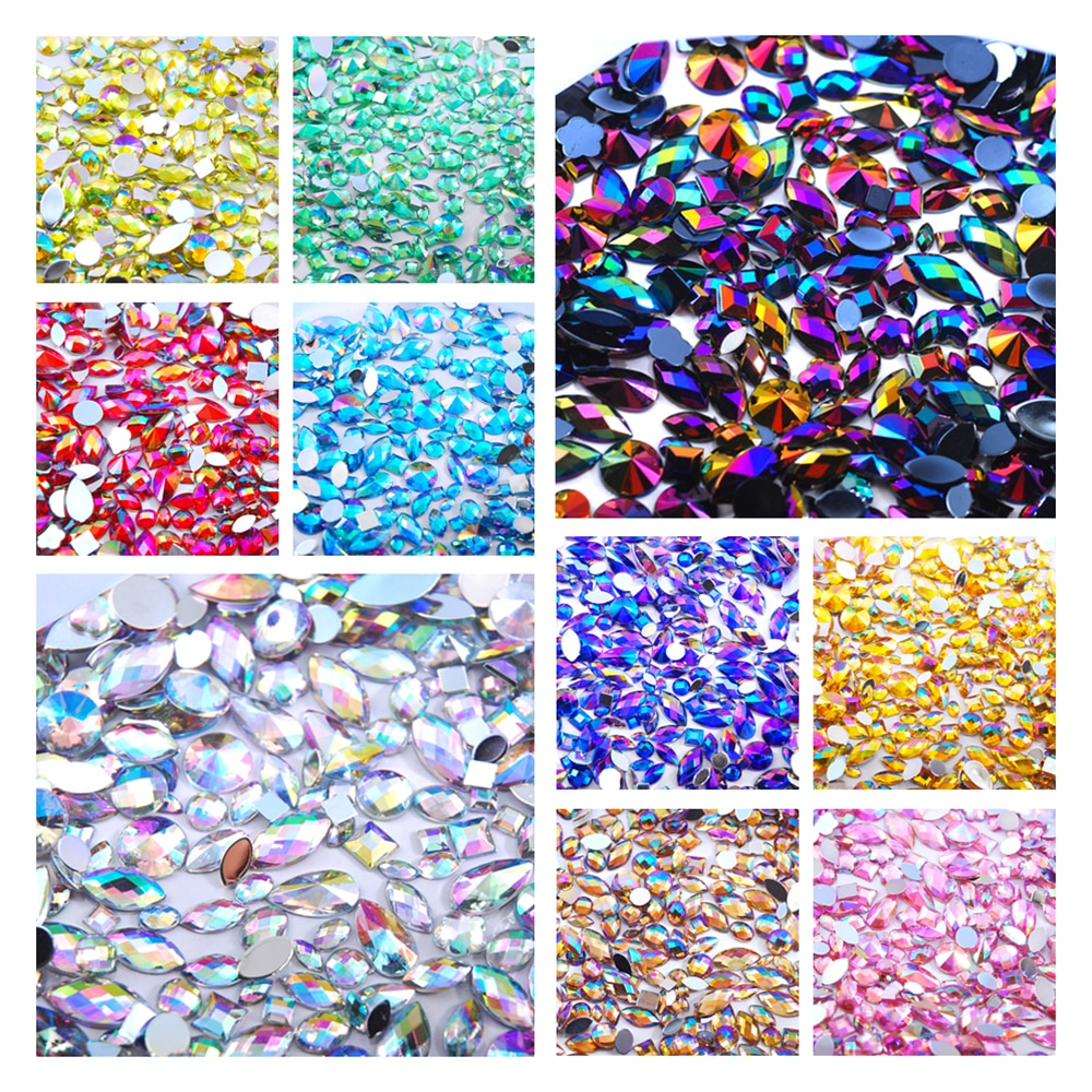 500Pcs Mixed Size Shape Loose 3D Acrylic Rhinestone Non Hotfix Flatback Craft DIY Clothing fabric accessories Decorations