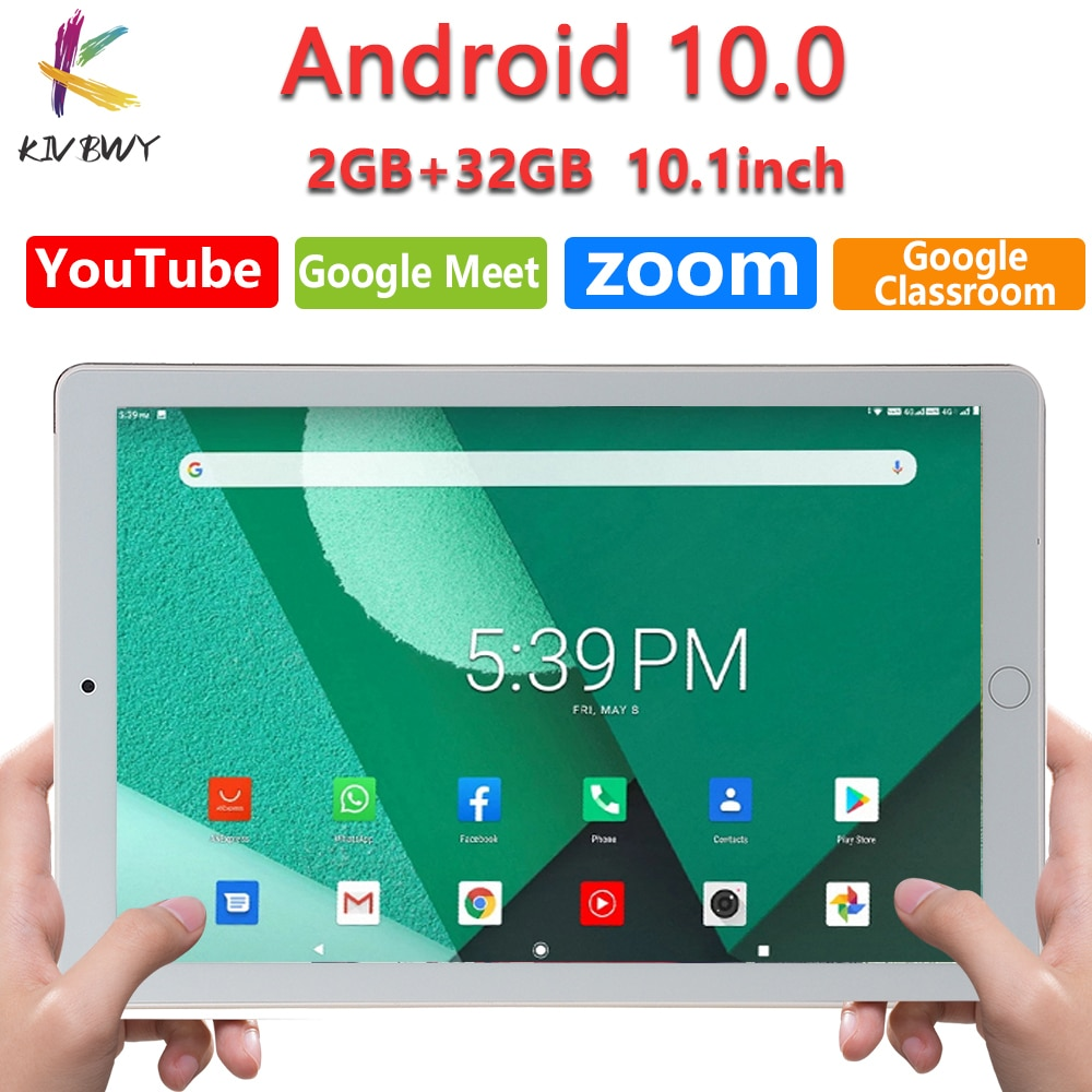 KIVBWY New 10 inch Tablet Pc Android 10.0 Octa Core 4G Phone Call Tablets 2G+32G Google Market GPS WiFi FM Bluetooth 10.1 tab