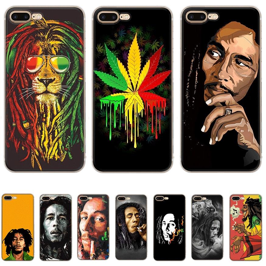 Mobile Phone Case For iPhone Apple XR X XS Max 6 6s 7 8 P Lus 5 5S SE Shell Bob Marleys Lion Rasta Lion Reggae Diy Protection