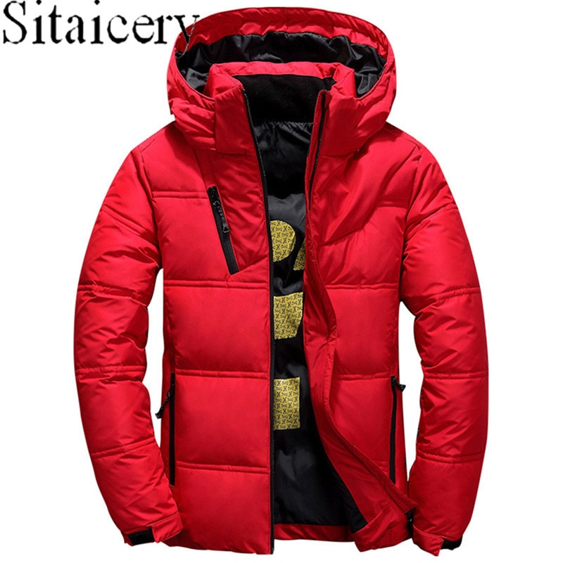 Зимняя мужская куртка, теплое плотное пальто, Зимняя Красная черная парка, Мужская теплая верхняя одежда, модная красная, черная, серая мужс...