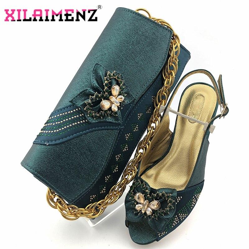 الترفيه نمط خفيفة أحذية النساء أفريان و مجموعة الحقائب باللون الأخضر الداكن اللمحة تو النيجيري سيدة حقيبة وحذاء متوافقان للحزب