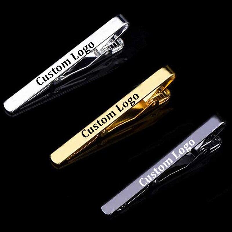 Прямая поставка персонализированные Индивидуальные DIY Логотип Лазерные Зажимы для галстука металлическая модная простая застежка практичный галстук застежка подарки для мужчин