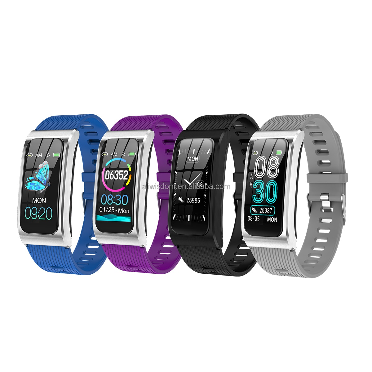 Sports Fitness Traker Smart Watches With Bracelets Wristband For Women Set IP67 Waterproof AK12 Steel ,Silicone, Leather Wrist