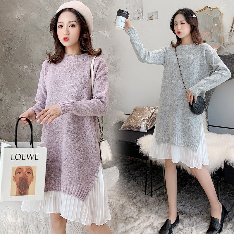 Pregnancy Clothes Sweater Dress Patchwork Thick Winter Knitted Ruffle Maternity Gown Pullover Full Sleeve Dresses for Women