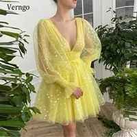 verngo bright yellow tulle with hearts pattern short prom dresses 2021 puff long sleeves v neck above knee length party dress