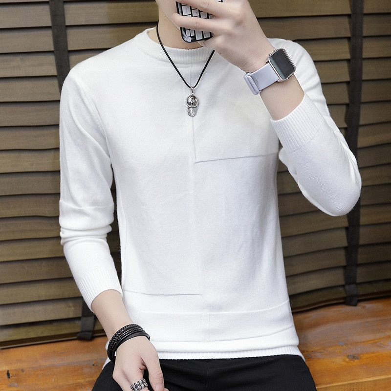 Men's Thin Sweater Spring, Autumn and Winter round Neck Long Sleeve Sweater Pure White Undershirt Coat Top Sweater Tide