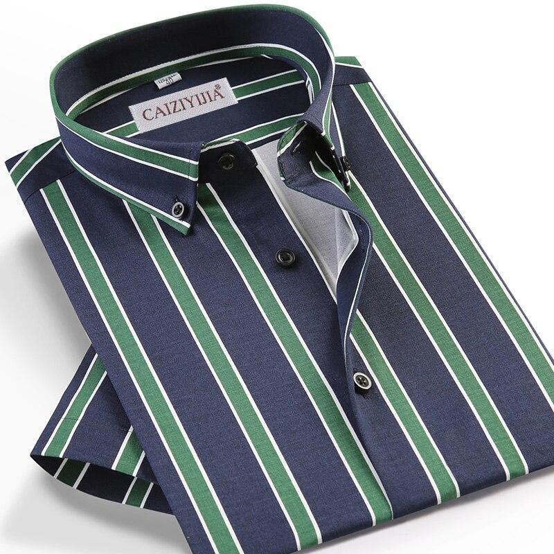 الرجال الصيف نمط قصيرة الأكمام عادية متعدد الألوان مخطط قميص جيب أقل تصميم القياسية صالح زر أسفل طوق القمصان