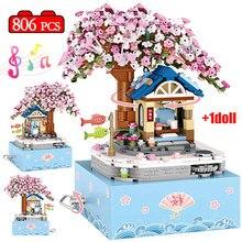 City Street View Mini Tree House Sakura Cherry Music Box Building Blocks Friends Architecture Figure
