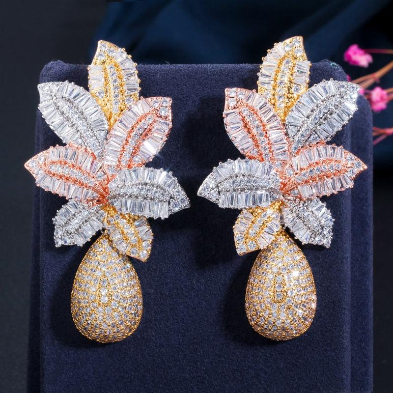 CWWZircons-أقراط ذهبية فاخرة للنساء ، 3 ألوان ، أوراق شجر كبيرة ، قطرة زهرة ، مكعب صغير ، زركونيا ، بافيه ، لحفل الزفاف ، CZ644