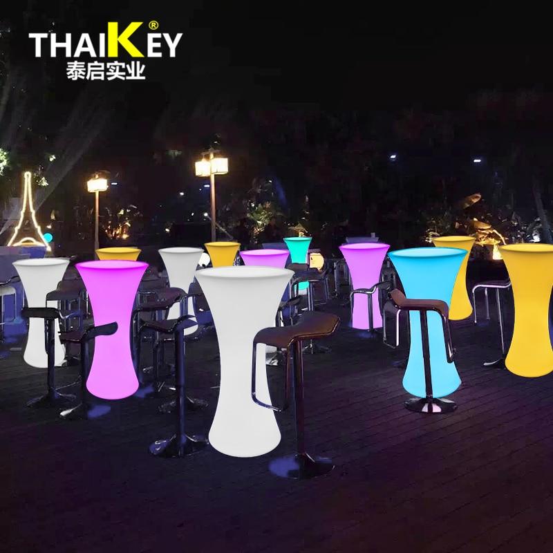 Mesa redonda de cóctel JXY D60 * H110 LED de colores para Estación de café/fiesta/Hotel/Bar mesa de café, luz LED de cintura pequeña y bonita