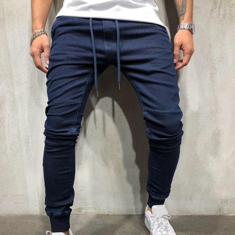Однотонные мужские джинсы со шнуровкой, джинсы со средней талией и ремешком на щиколотке, длинные облегающие обтягивающие брюки, благоприя...