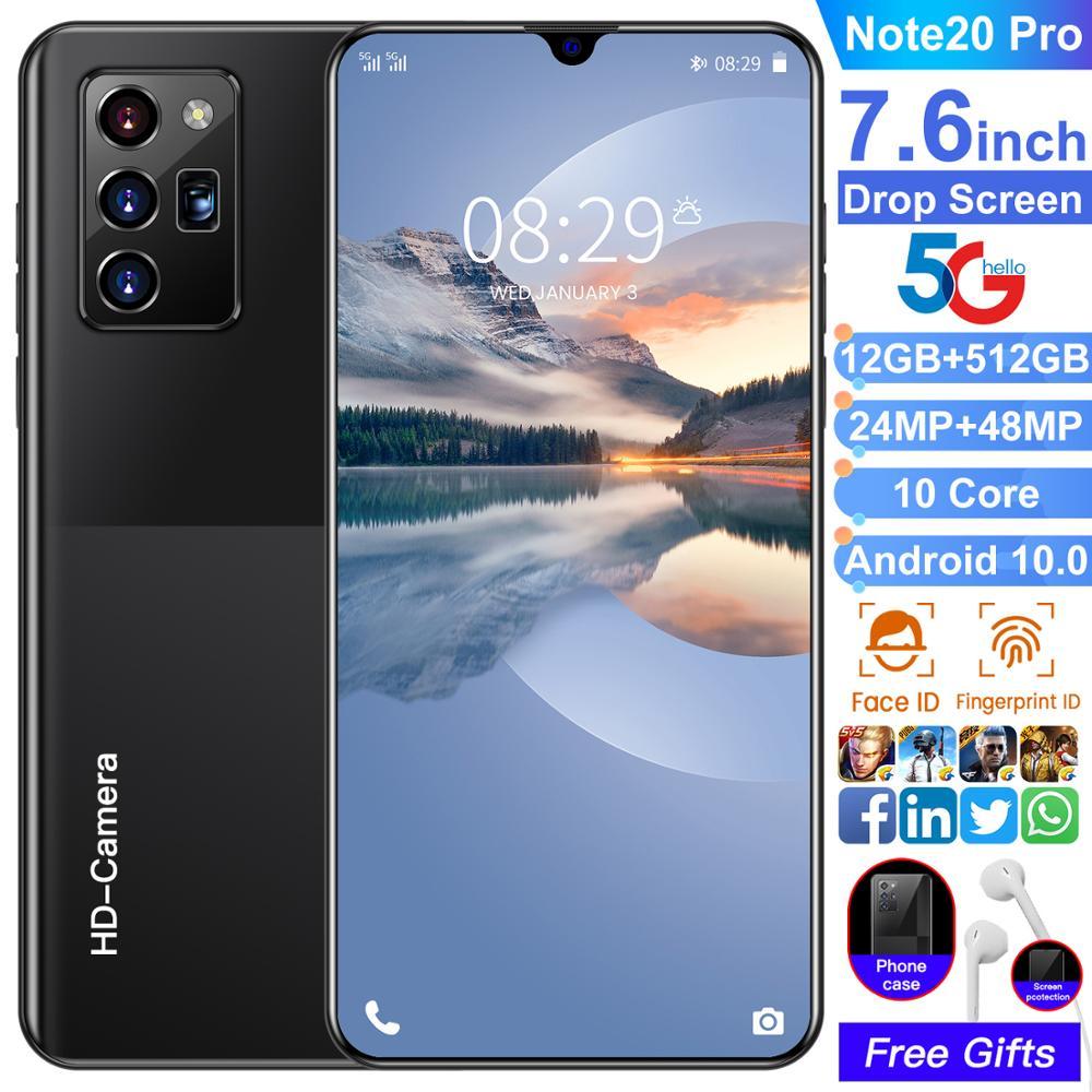 Telefone esperto do núcleo de galxy note20 pro 256gb/512gb 10 7.6 Polegada telefone celular grande da tela 5g lte duplo sim 6800mah smartphone mtk6889