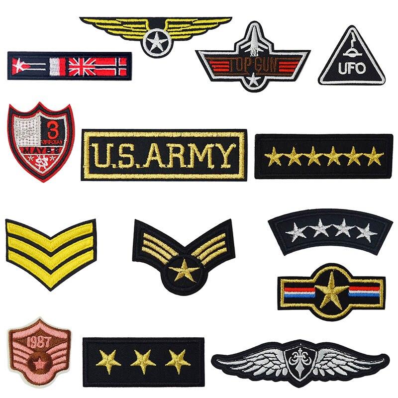 육군 군사 순위 메달 철 패치에 바느질 수 놓은 applique 자 켓 옷 스티커 배지 diy 의류 액세서리
