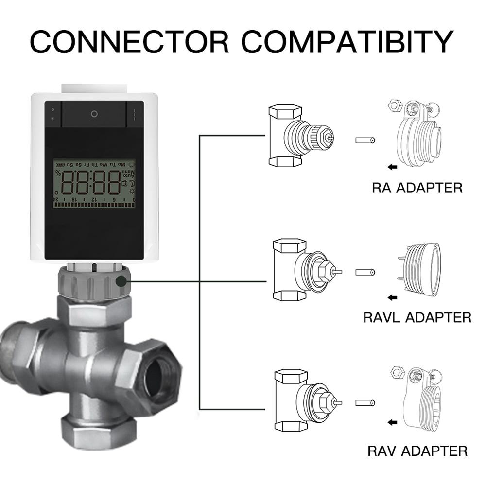 صمام التحكم الذكي في درجة الحرارة صمام المبرد للبرمجة تحكم ترموستات صمام زيجبي 3.0 تويا APP التحكم عن بعد