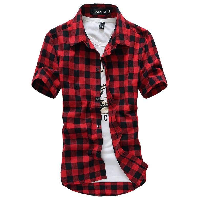 Рубашка мужская в клетку, модная Клетчатая блуза с коротким рукавом, красно-черная, лето 2021