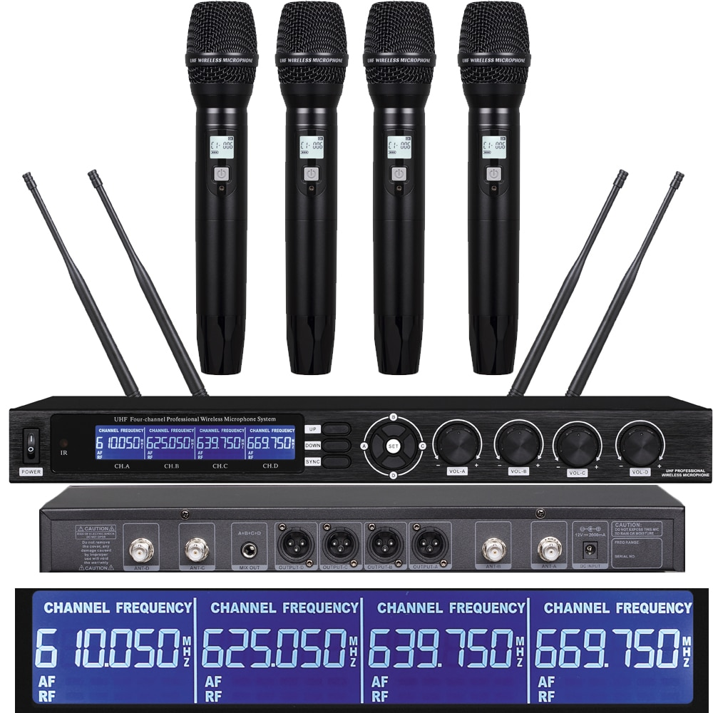 UHF 4 يده SKM9000 ميكروفون الكاريوكي أنظمة لاسلكية 4 سماعة Lavalier نظام الأداء المنزلي المرحلة