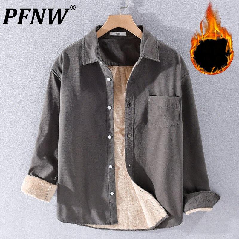 PFNW 2021 شتاء جديد سميكة أفخم الرجال قمصان لينة عادية بسيطة جيب عادي القطن الدافئة الباردة برهان الاتجاه قميص معطف 21D8853