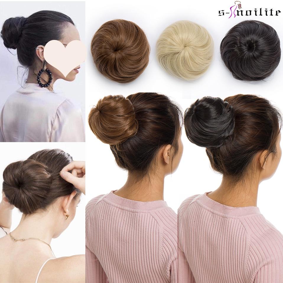 S-noilite moño sintético cheveux cordón elástico recto chignon pelo moño postiche cheveux chignon uodo extensión de pelo