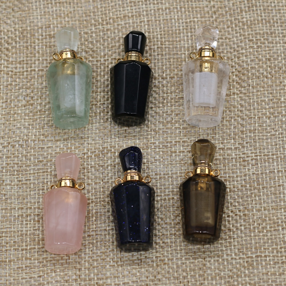 Trendy Natural Stone Perfume Bottle Pendant Rose Quartzs Charms for Women Jewelry Making DIY Necklace Accessories Exquisite Gift  - buy with discount