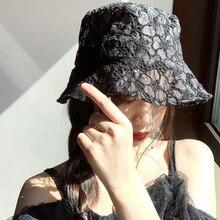 New Fashion Women Lace fascinator Hat Packable Summer Hat Wide Brim Sun Hat White Black Lace Dress Church Party Wedding Hat