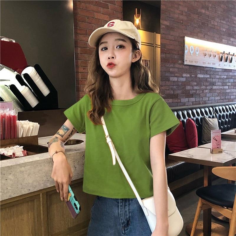 2020 Women Plain Short T Shirt Female Woman Cloth Harajuku White Black Yellow Red Top Tees L0336