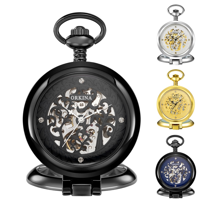 Golden Retro Antique Round Automatic Mechanical Pocket Watch Fob Chain Hand Winding for Men Women