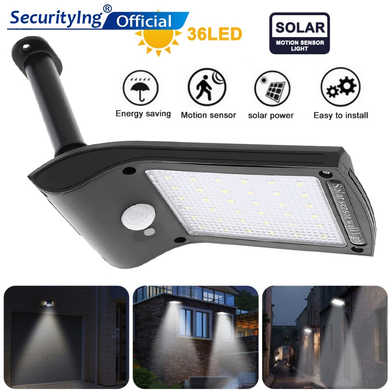 Luz Solar giratoria 36LED, luces para exteriores, Sensor de movimiento PIR impermeable, lámparas LED de colector Solar para Lámparas de jardín de patio al aire libre