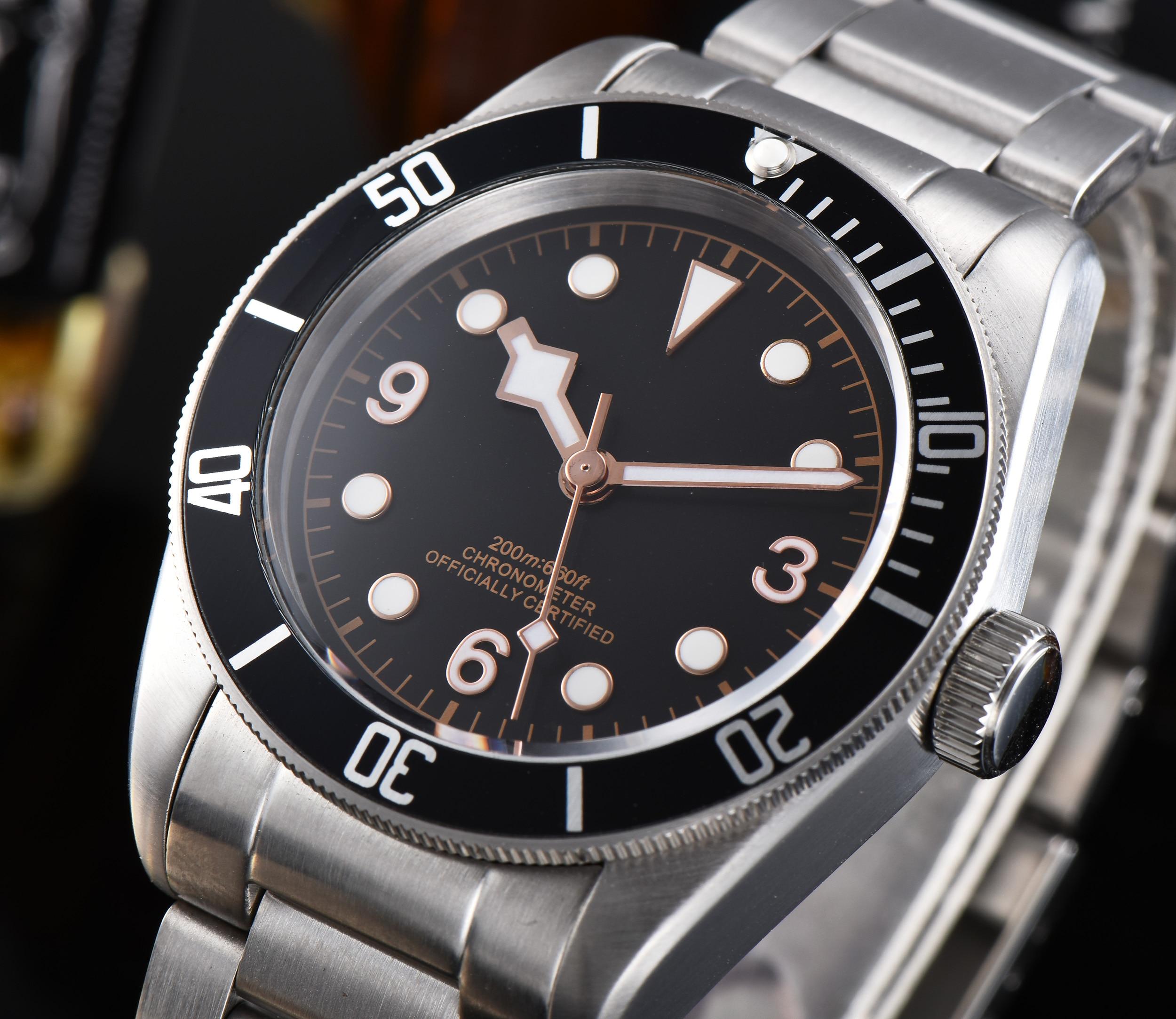41mm corgeut lujo negro dial zafiro vidrio luminoso automático hombres Watc.