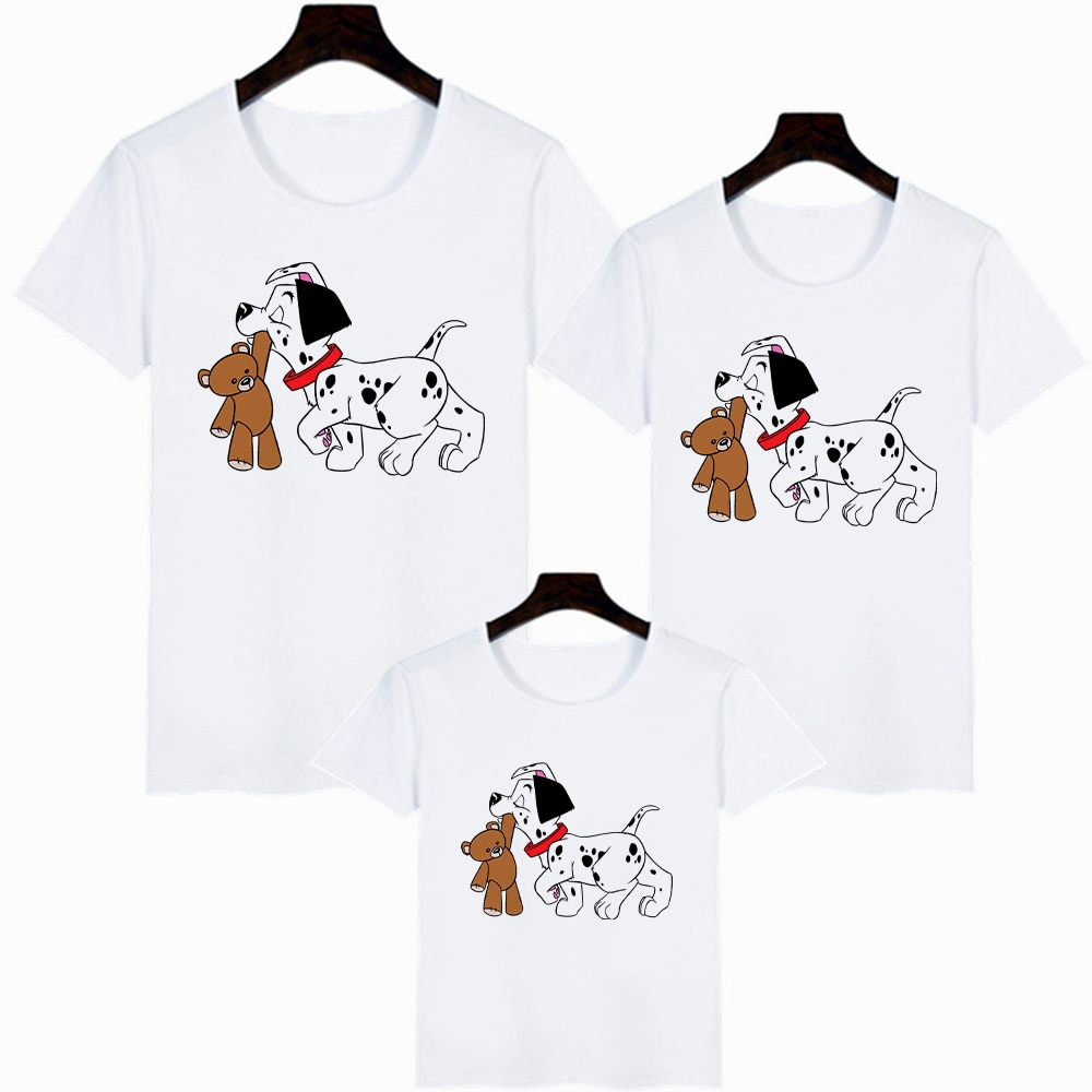 Disney Films 101 Dalmatians Print Children Tshirt Casual Funny Baby Girl Boy T Shirt Gift for Famliy Look Top Adult Unisex Tee