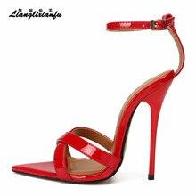 LLXF-sandales de mariée à talons hauts, chaussures à bride à la cheville, escarpins à bout ouvert, pour femme Plus47, 48, 49, 14cm