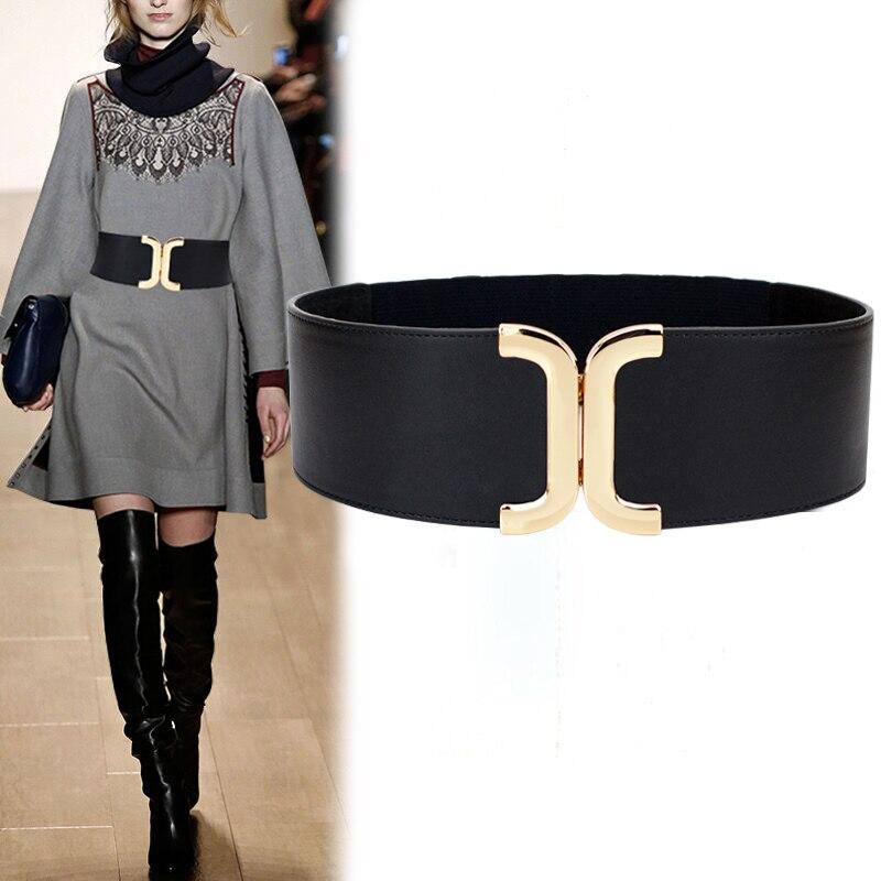 Fashion Women Elastic Belts Luxury Brand PU Leather Gold Buckle Waist Strap Stretchy Women Dress Adornment Ladies Wide Waistband