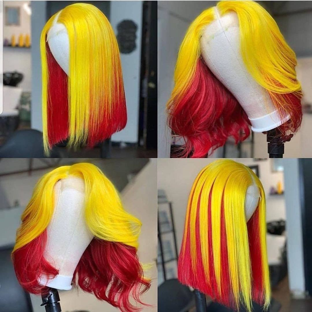 Bob Red Ombre Yellow Short Bob Highlight Red 13x4 Lace Front Wigs Short Bob Brazilian Virgin Human Hair Wig 180 Density