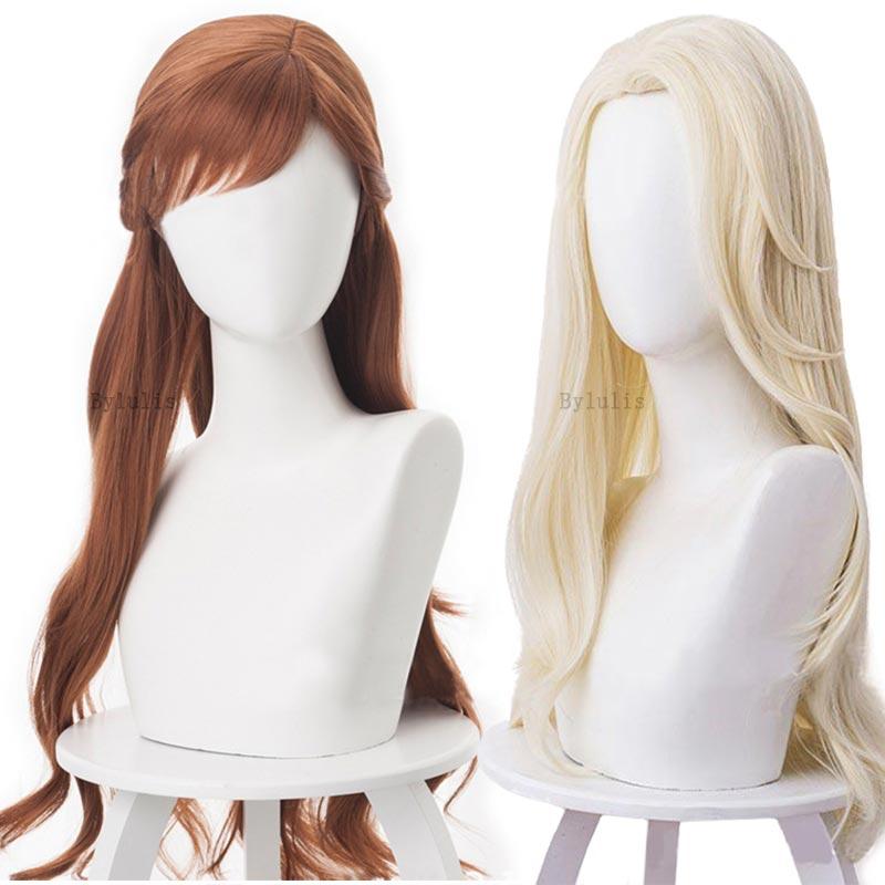 Princess Elsa Anna Hair Cosplay Costume Anime Anna Elsa Hair for Children